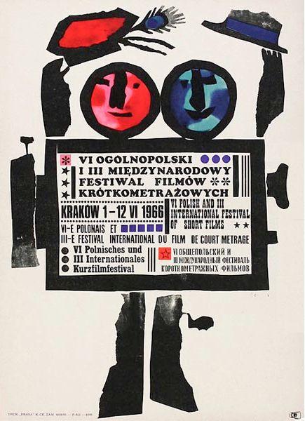 """Polish Festival Poster by Jan Lenica, 1966, """"The 6th Polish & 3rd International Festival of Short Films in Krakow""""."""