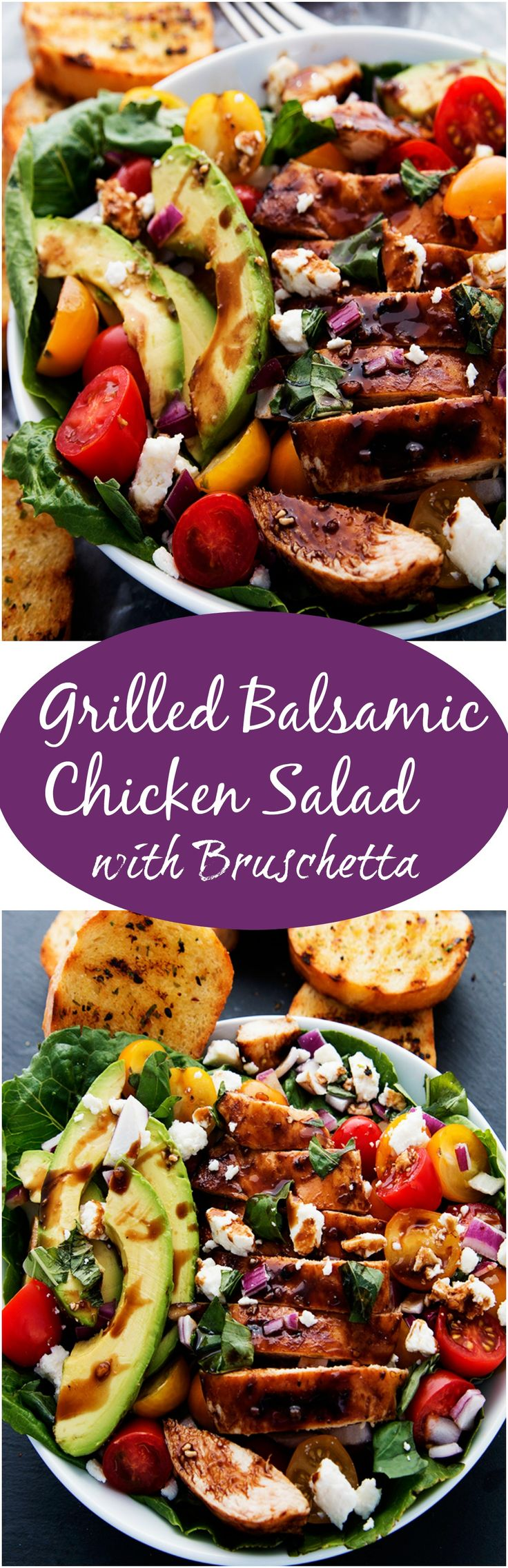 Grilled Balsamic Chicken Salad with Bruschetta is heart healthy and will turn a traditional salad into an extraordinary salad.