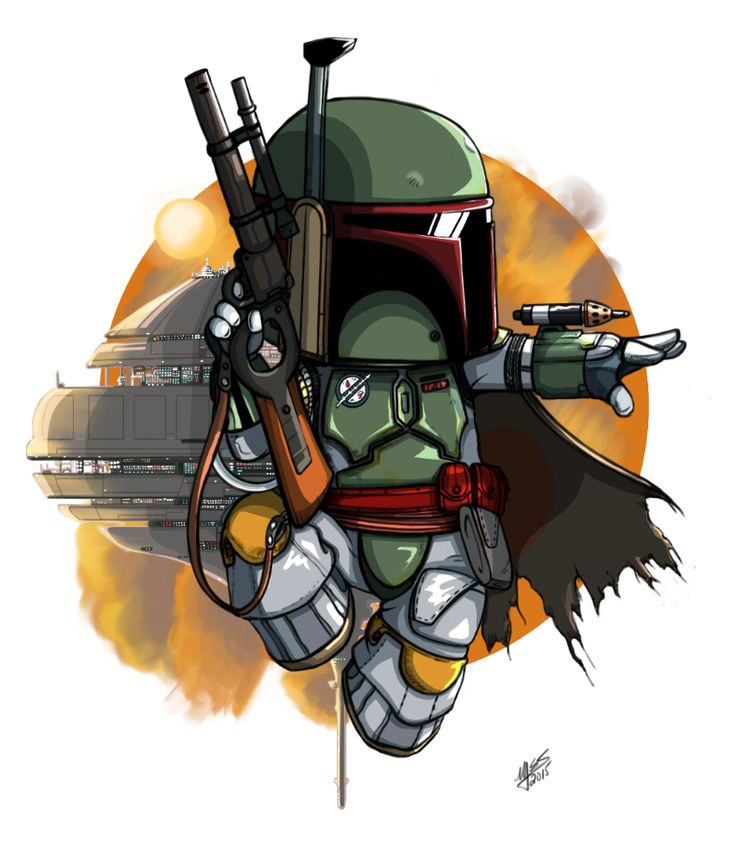 First of three chibi bounty hunters (from Star Wars) finished, using Sketchbook Pro 7. Usually I ink the finals, but kept this one with its pencil line intact. Might go back and change ...