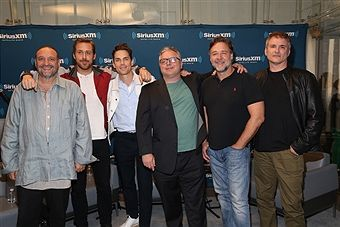 Joel Silver, Ryan Gosling, Matt Bomer, Clark Collins, Russell Crowe and Shane Black attend the SiriusXM's 'Town Hall' With The Cast Of 'Nice Guys' on May 12, 2016 in New York City.