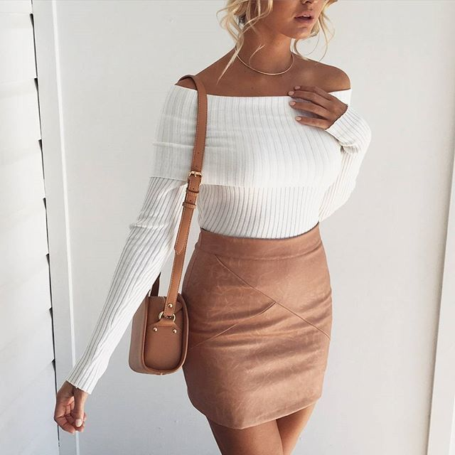 Cute outfit - White off the shoulder long sleeved top with ribbing and a fitted tan suede skirt