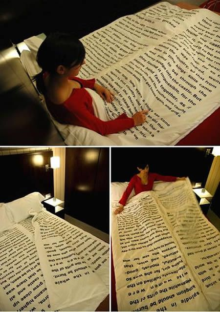 This blanket has some traditional bedtime story on it. Plus, it has several sheets just like a real book. Awesome for reading before bed!