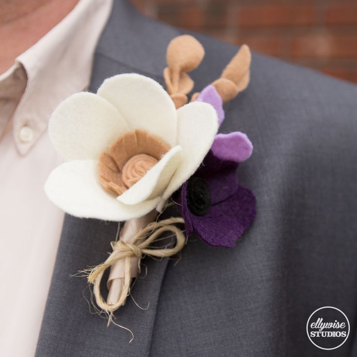 wedding boutonniere felt flowers memphis Ellywise Studios purple champagne colors
