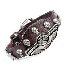 Роскошный дизайн! из натуральной кожи обертывание сглаза браслет для женщины мужчины многоцветный широкий череп шарм мужская браслеты бесплатная доставка NSL-118(China (Mainland))