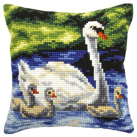 Swan with Cygnets Cushion Front Chunky Cross Stitch Kit