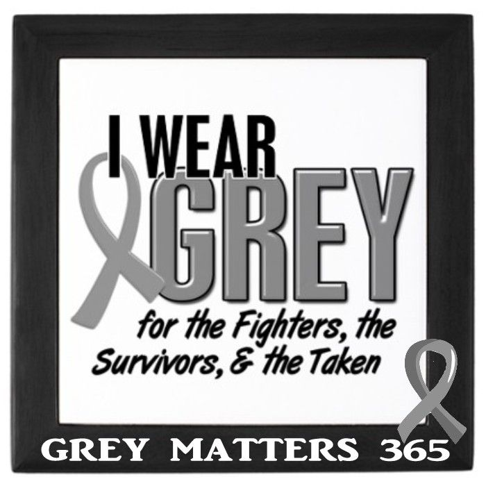 I wear grey and my husbands wedding ring on my left hand as a constant reminder of the evils of brain cancer. #greymatters365