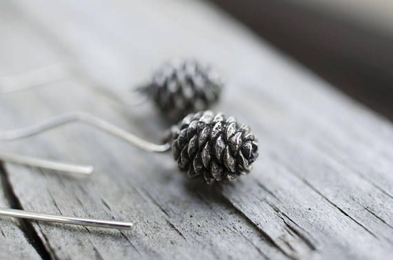 Sterling Silver Pinecone Earrings, Nature Jewelry, Valentine's Gift, Silver Pinecone, Minimalist Earrings, Botanical Jewelry, Fall Jewelry