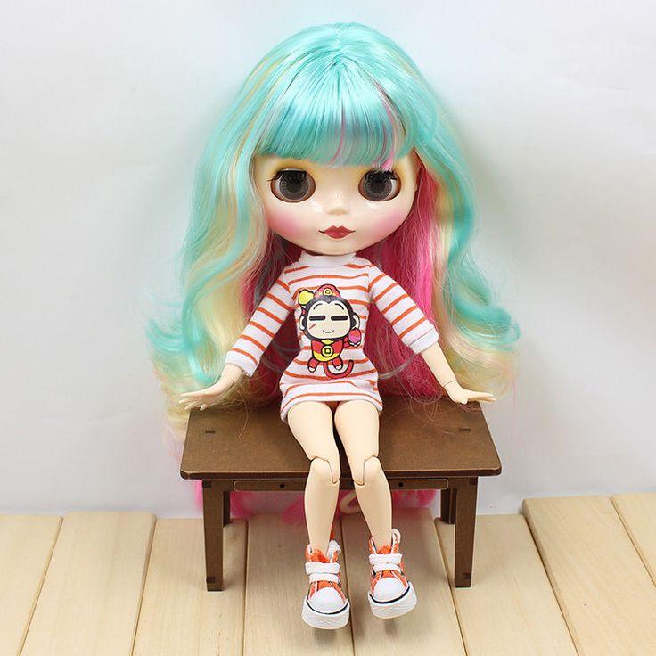 12 & # 034; Neo Blythe Doll z továrny zelené smíšené vlasy + kloubovým kloubového těla