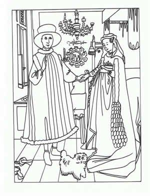 Van Eyck Art appreciation coloring pages - tape to shrinky dink page. color. punch holes two holes in one side for a book. Shrink. Make a book of famous art - colored by you.