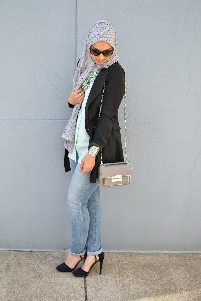 lace hijab statement necklace hani hulu modest hijabi fashion ahfif tuxedo blazer