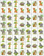 Dierentuindomino, free printable / Jeux de dominos, les animaux