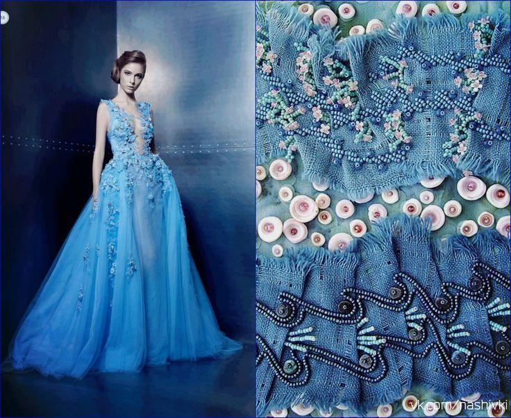 """""""Если кто обидел тебя, отомсти мужественно. Оставайся спокоен - и это будет началом твоего мщения, затем прости - это будет концом его"""" В.Гюго  #pv_citaty #вышивка #вышивание #рукоделие #цитаты #подборки #красота #мода #женщина #голубой #платье #спокойствие #бисер #гюго"""
