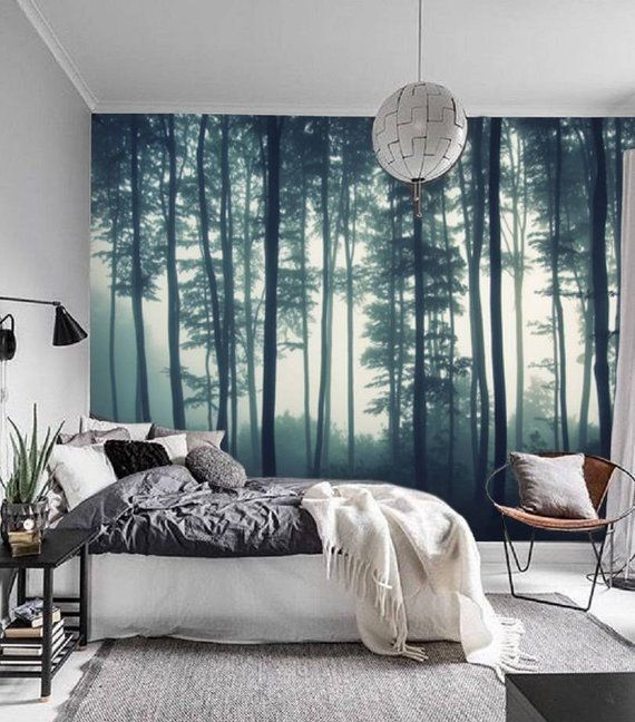 Misty Forest Wall Mural Removable Wallpaper Mural Forest Etsy Tree Wallpaper Bedroom Forest Wall Mural Forest Mural