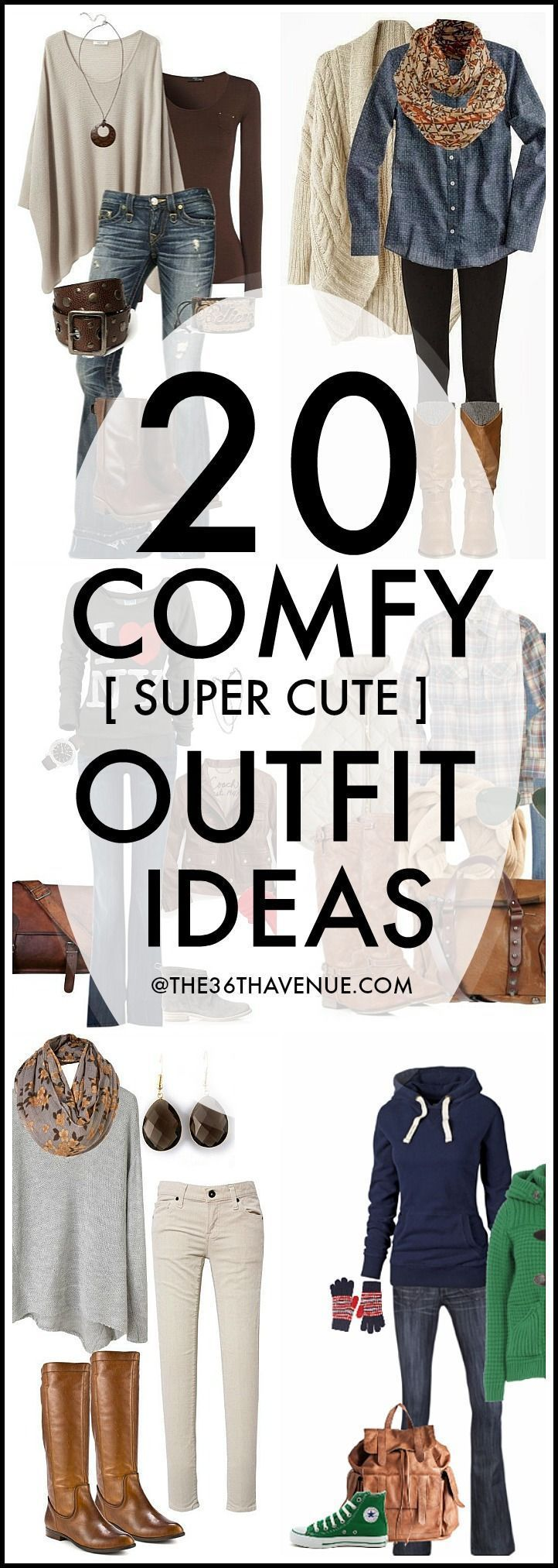 Style for over 35 ~ 20 Fashion Outfits that you can put together with cardigans, jeans, sweaters, and jackets that you may already have inside of your closet. These are super cute , easy, and comfortable fall outfit ideas!