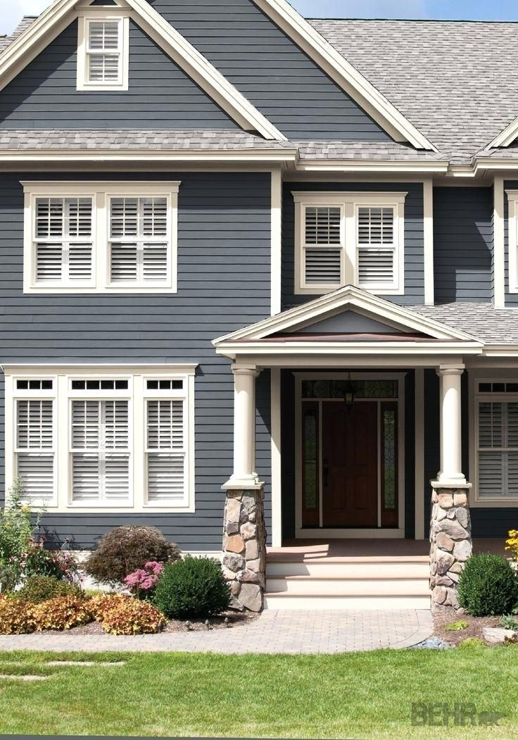House Exterior Colour Schemes Dark Blue House Paint In 2019