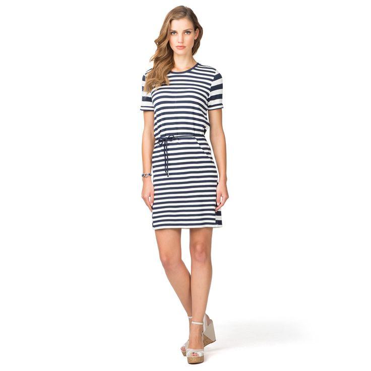 Nautical stripes define this soft viscose dress. Crew neck with buttons at the neck, straight styling with belted waist. Short sleeves and insets on the skirt's side seams stand out in block stripes. Hits above the knee. Tommy Hilfiger flag above the bottom hem