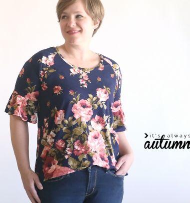 Pretty ruffle sleeve raglan tee (free sewing pattern)  // Fodros ujjú nyári virágos felső (ingyenes szabásminta) // Mindy - craft tutorial collection