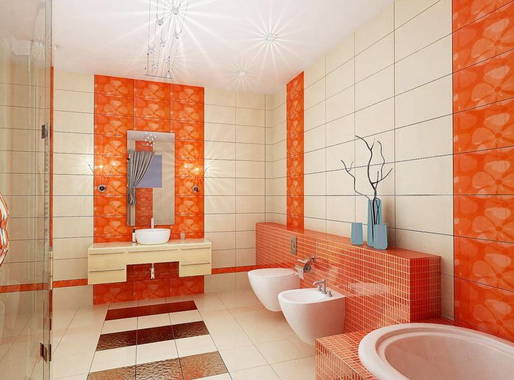 World Photos Decoration Orange Bathroom Idea Orange Bathroom Idea