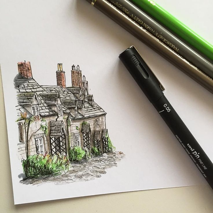 Quick little sketch #art #drawing #pen #sketch #illustration #linedrawing #gouse #cottage #cotswolds #england #architecture