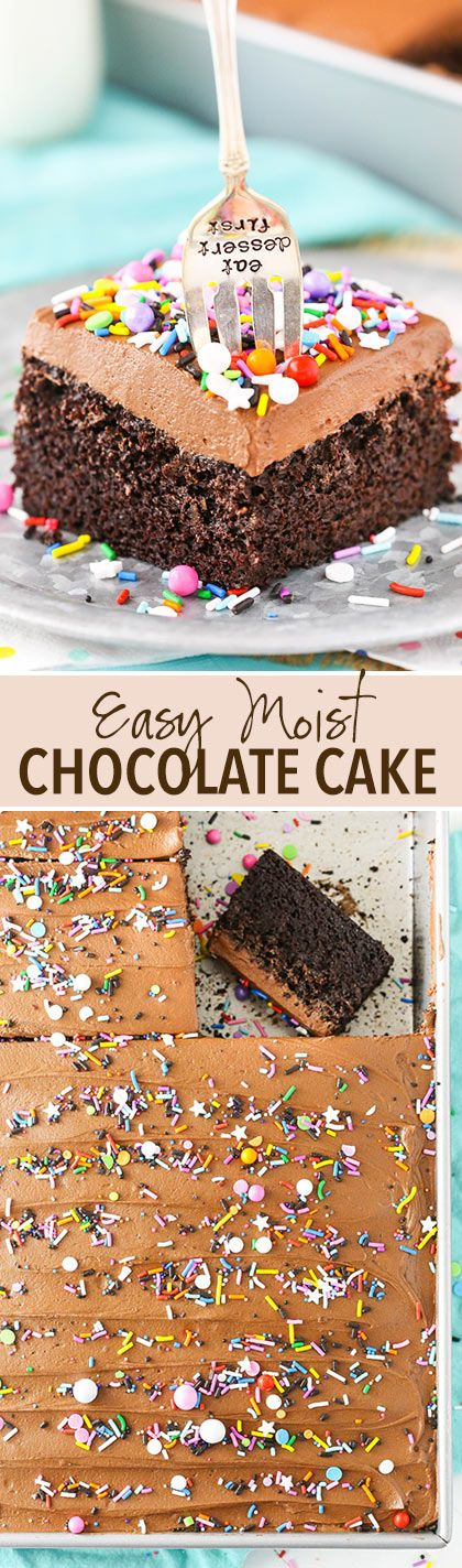 Is anyone's birthday party coming up soon? Here's an easy moist chocolate cake recipe for ya! So good!