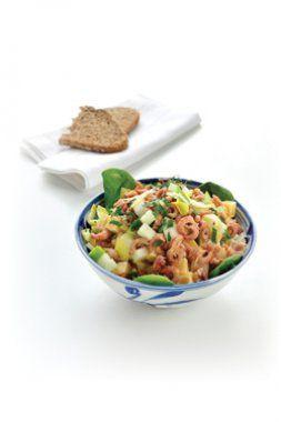 Salade met witloof, appel en grijze garnalen