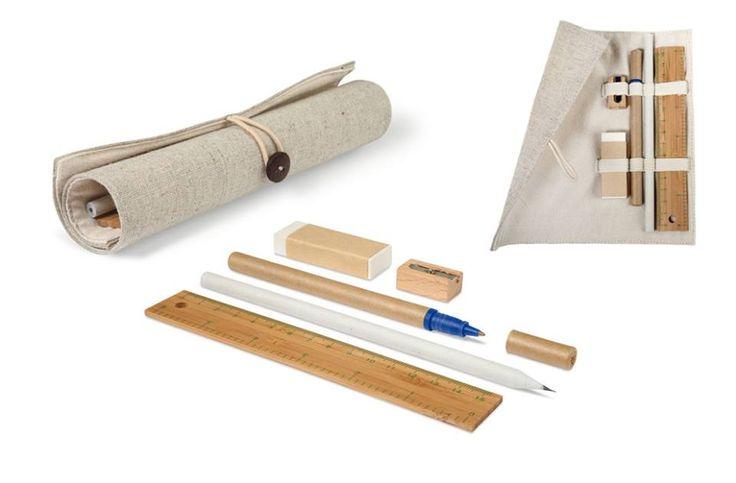 Jute & cotton case , bamboo #ruler, wooden #sharpener, #eraser, paper #pencil and #pen on cardboard. Inspire #copywriting!
