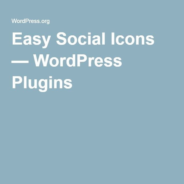 Easy Social Icons — WordPress Plugins