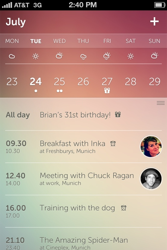 Nice idea to pair weather with in-app calendar.