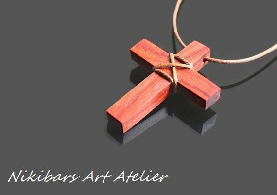 Wooden Cross Necklace  Man Cross Necklace  by NikibarsNatureArt