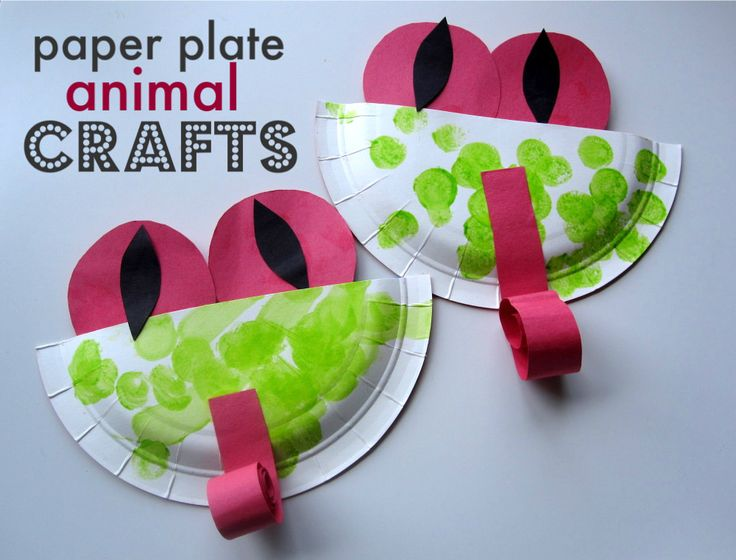 Paper Plate Animal Crafts (links to tree frogs, pig, jelly fish, tiger, spider, turkey, crab, tadpole)