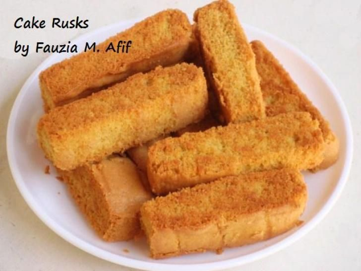 Cake Rusks Recipe (Fauzia's Kitchen Fun) | A wonderful biscotti made out of strips of cake that are baked until golden and crispy! These taste oh-soooo-delicious with tea or coffee.