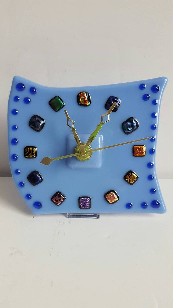 Check out this item in my Etsy shop https://www.etsy.com/listing/493983546/fused-glass-clock-desktop-clock-mantel