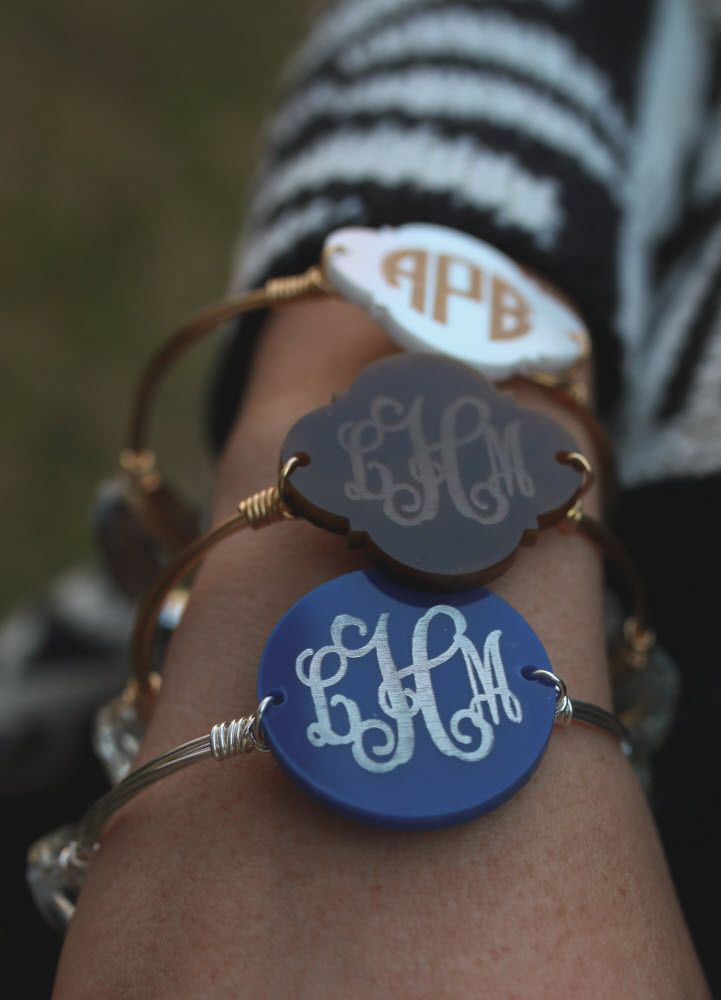 Bangle Bracelet with acrylic monogram available in your choice of colors. Monogram Bordered is approx 1.25″ wide, with two clear stones. Available in standard size (2.5″ diameter, 8″ circumference) or