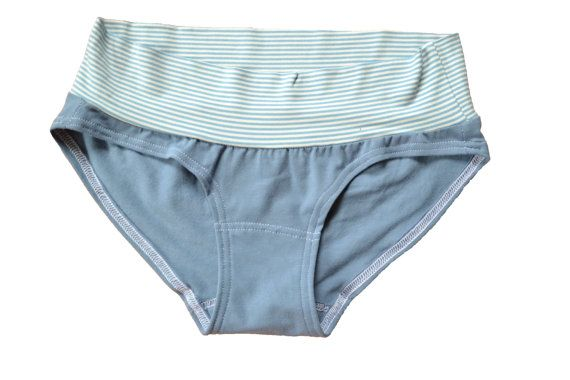 Blue with blue and white stripe mid-rise panties