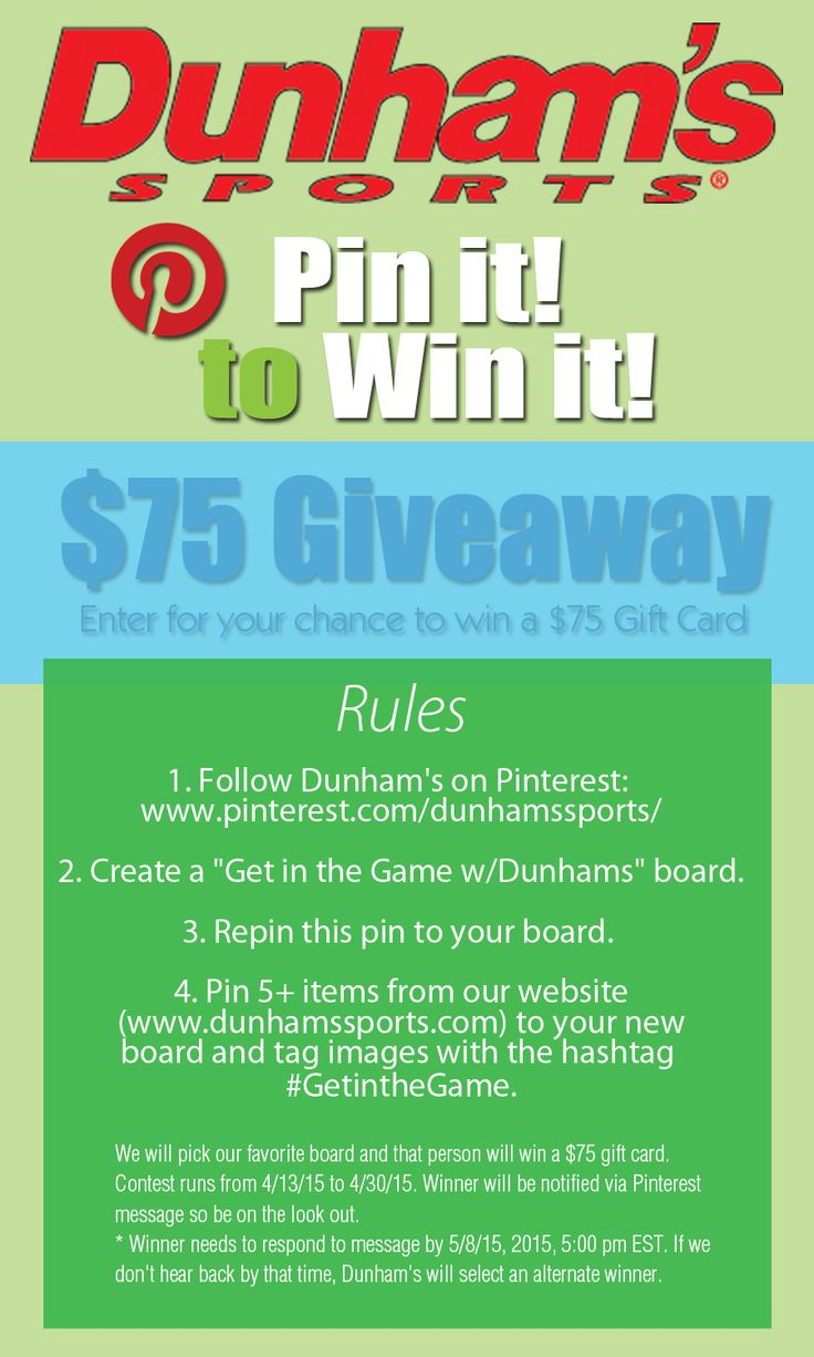 Pin It to Win it! $75 gift card. Now thru 4/30/15 SWEEPSTAKES IS CLOSED.