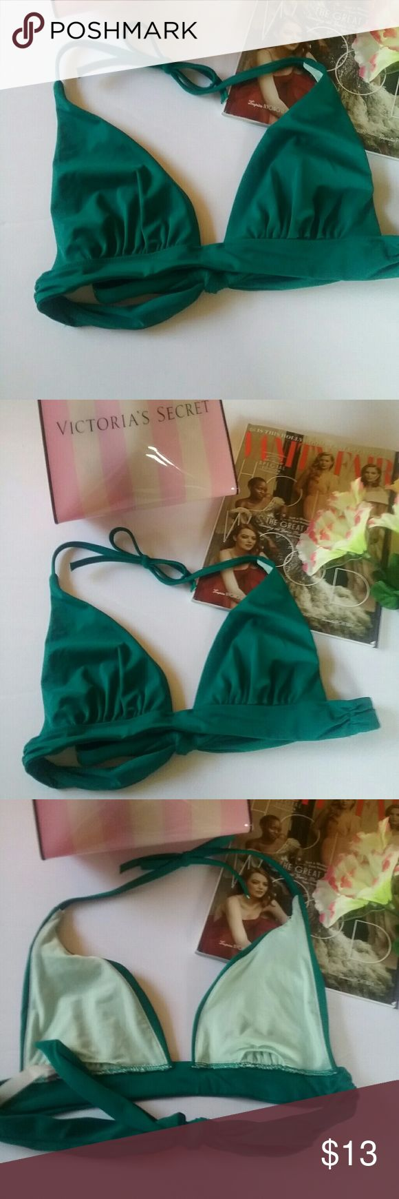 VICTORIAS SECRET EMERALD GREEN SWIM TOP MED This is a new Victoria's Secrets emerald green triangle bikini top. It does not have padding. It is a size medium. It is a Victoria's Secret Overstock so the store Tags have been removed but the size tag remains. Victorias Secret  Swim Bikinis
