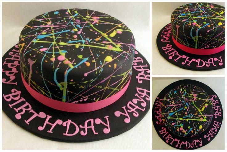 Neon paint splatter cake - Neon paint splatter cake.