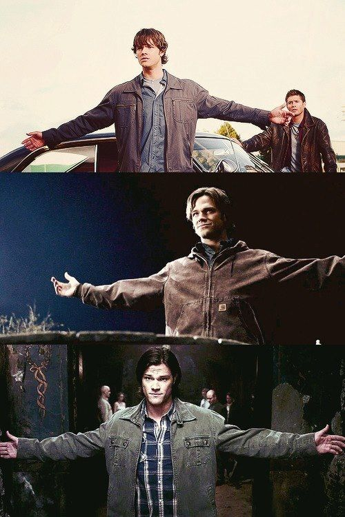 "Sam Winchester's ""bring it on"" pose. People peg Dean as the primary bad ass, and they're not wrong, but Sammy's got guts."