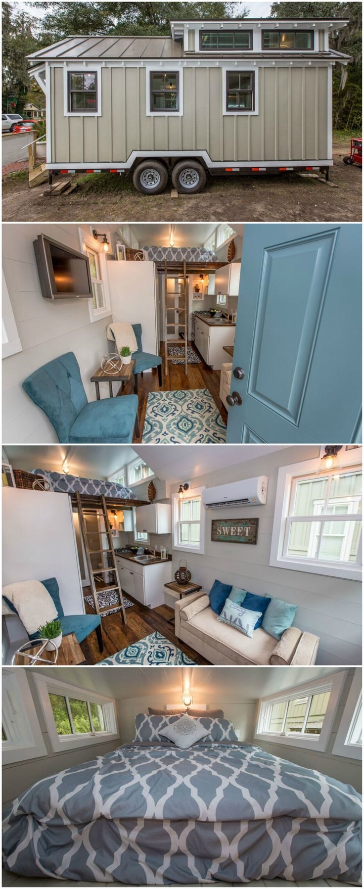 The Palmetto is a gorgeous tiny house built and donated by Driftwood Homes to the South Carolina flood victims in 2014. A master loft and storage loft are both accessed by a ladder. A wood countertop, four burner range, and 3/4 size refrigerator complete the kitchen.