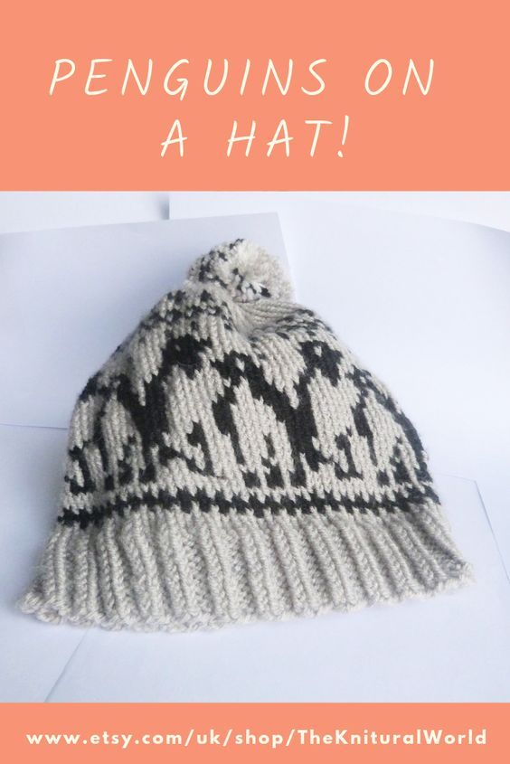 8c5c9251336 This is a Grey and Black Ladies Hand-knit Penguin Fair Isle Animal Hat.
