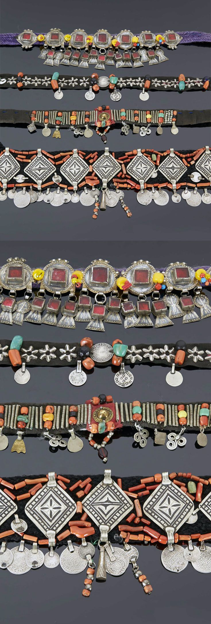 Morocco | Four headbands from the Atlas region (Anti, Middle and Central); leather, cotton, coral, amazonite, silver, stones and glass cabochons | 434€ ~ sold (May '15)