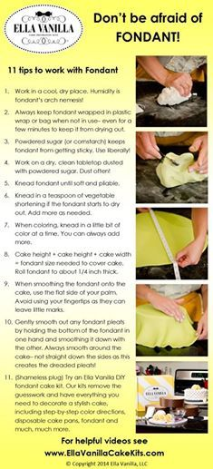Learn how to work with fondant. 11 tips and tricks of the trade from www.EllaVanillaCakeKits.com