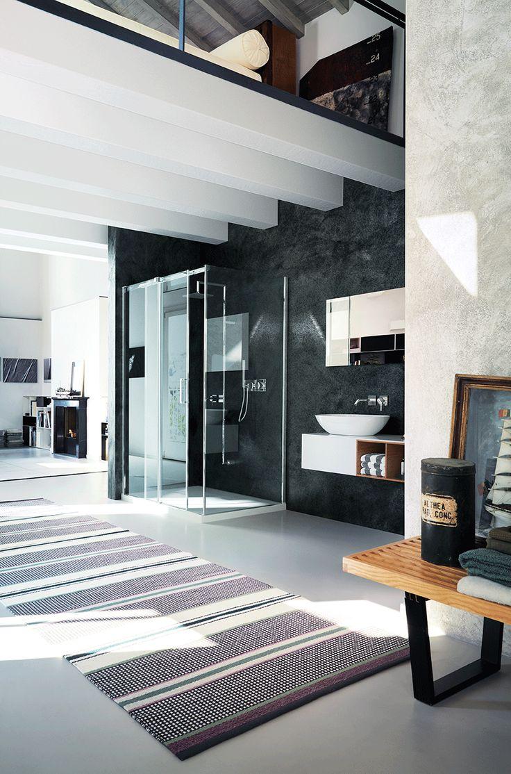 Modern bathroom idea | Shower door in a open space | Gliss, a glass sliding door by @vismaravetro