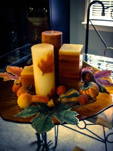 candles and glittered fall fruits from Pier 1 Imports (so is the tray) - by kristenione