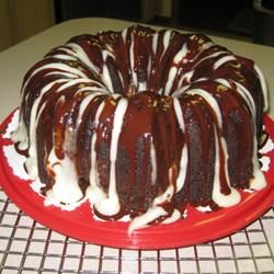Fudgy Cream Cheese Tunnel Cake....I halved the cream cheese and just did the chocolate drizzle on top!   YUMMY!!!!!