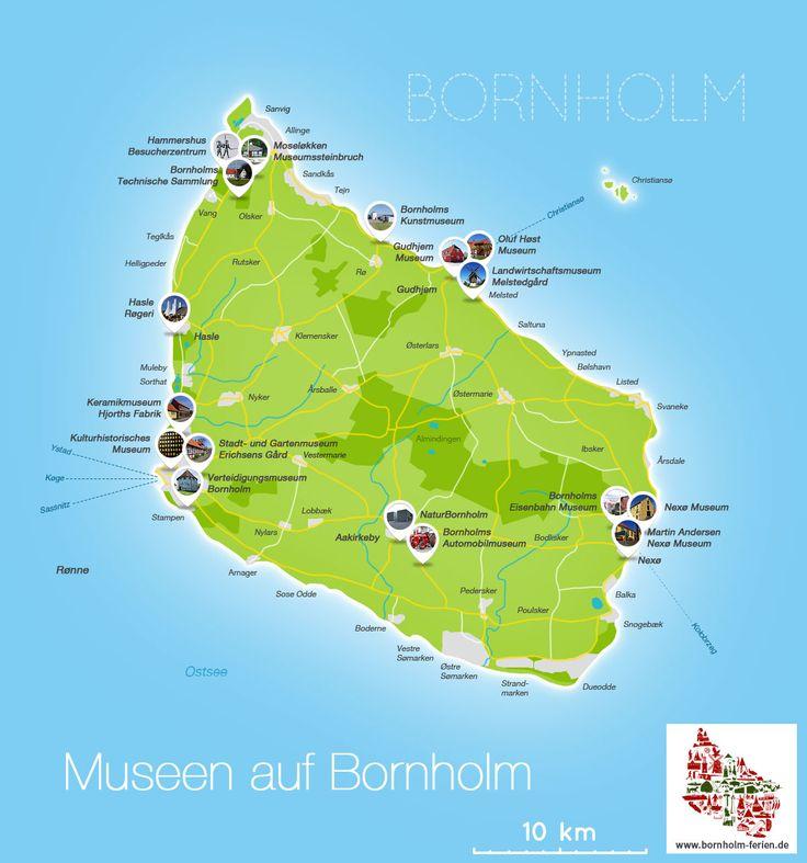 Übersichtskarte aller Museen auf Bornholm #museen #museum #bornholm #karte #uebersicht #daenemark