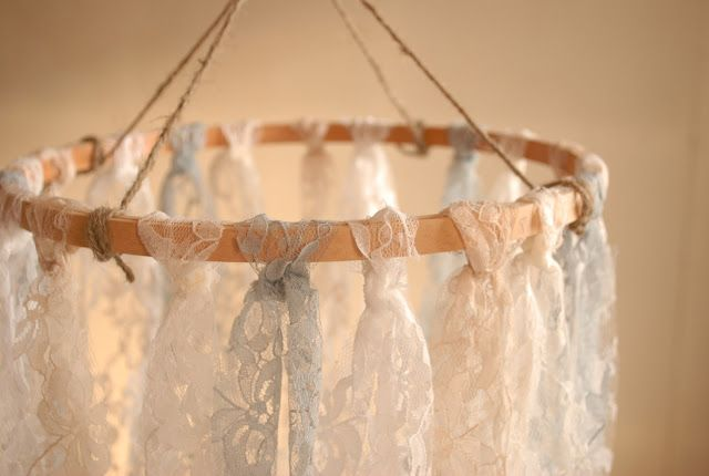 Lace Chandelier Materials: - Lace fabric - Embroidery hoop - Jute string - Scissors