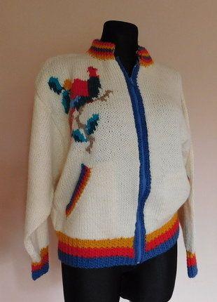 Kup mój przedmiot na #vintedpl http://www.vinted.pl/damska-odziez/bluzy-i-swetry-inne/17686013-recznie-robiony-sweter-z-papuga-welna-38-40