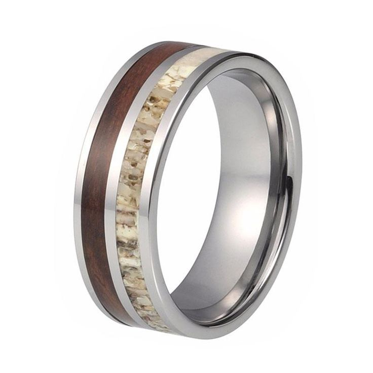 8mm Deer Antler Wedding Ring with Koa Wood Inlay