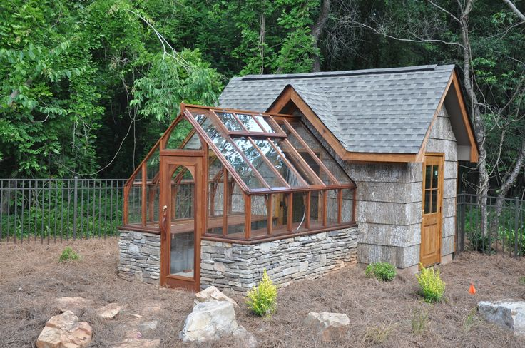 Tudor Greenhouse attached to an upscale Garden Shed.
